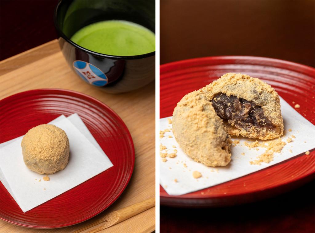 日本茶と和菓子のセット(抹茶、餡入りわらび餅)1,300円